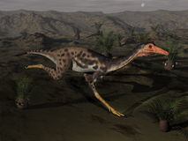 Mononykus dinosaur by night - 3D render Royalty Free Stock Photography