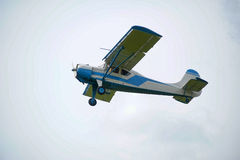 Monoplane in flight Royalty Free Stock Images