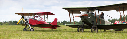 Monoplane and old biplane Stock Photography