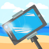 Monopod for selfie,beach and the sea, travel and tourism. Monopod for selfie,beach and the sea, Photo phone, travel and tourism Stock Images