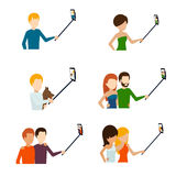 Monopod selfie flat icons Royalty Free Stock Photos