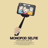 Monopod Selfie självståendehjälpmedel för Smartphone stock illustrationer