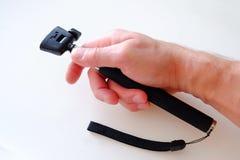 Monopod telescópico para a fotografia Prata com o punho de borracha preto fotografia de stock