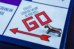 Monopoly Board Game - Dog token passing GO box. Monopoly Board Game close up with the dog token passing GO box. The classic real estate trading game from Parker royalty free stock photography