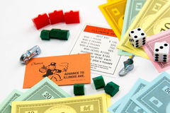 Monopoly board game in play Royalty Free Stock Images
