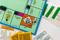 Monopoly board game in play Royalty Free Stock Photos