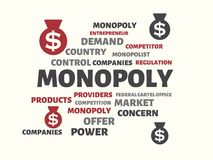 MONOPOLY - image with words associated with the topic MONOPOLY, word cloud, cube, letter, image, illustration Stock Images