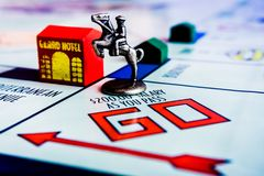 Monopoly Board Game - Horse Token on GO box stock photo