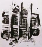 Monoprint da mangueira Ilustração preto e branco pintado à mão Foto de Stock Royalty Free