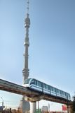 Monorail. Train  and TV tower Stock Image