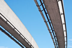 Monorail. Pair of monorail lines against a blue sky Royalty Free Stock Photos