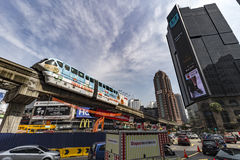 Monorail in the chaotic Bukit Bintang place Stock Image