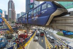 Monorail in the chaotic Bukit Bintang place Royalty Free Stock Photos