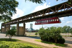 Monorail that connects the city with the Mississippi River Park. Memphis, Tenenssee - 2018: Monorail that connects the city with the Mississippi River Park royalty free stock photography