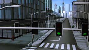 Monorail entering railway station in city. Animation of a monorail entering a railway station in a virtual city stock video