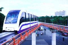 Monorail fast train on railway Stock Image