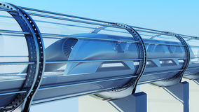 Monorail futuristic train in tunnel. 3d rendering. Monorail futuristic train in a tunnel. 3d rendering Stock Image