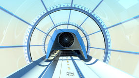 Monorail futuristic train in tunnel. 3d rendering Royalty Free Stock Photos