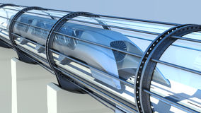 Monorail futuristic train in tunnel. 3d rendering. Monorail futuristic train in a tunnel. 3d rendering Stock Photos