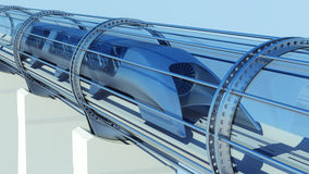 Monorail futuristic train in tunnel. 3d rendering. Monorail futuristic train in a tunnel. 3d rendering Stock Photography