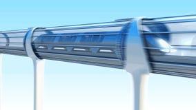Monorail futuristic train in tunnel. 3d rendering stock video