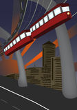 Monorail and modern city Royalty Free Stock Images