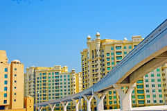 Monorail on Palm Jumeirah. The Monorail running along the shoreline of Palm Jumeirah in Dubai royalty free stock photos