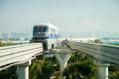 Monorail. Station on a man-made island Palm Jumeirah on March , 2014 in Dubai, UAE. This  is the longest completely automated rail system Royalty Free Stock Images