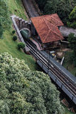 Monorail station from the top with green that viewed from Penang HIll at George Town. Penang, Malaysia Royalty Free Stock Photo