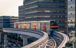 Monorail in Tachikawa, Japan. Tachikawa, Japan - February 16, 2015: Train on the Tama Toshi Monorail, also known as the Tama Monorail` comes round a bend in the stock photo