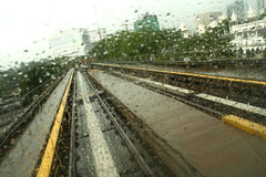 Monorail tracks of Kualalumpur. View from the front windscreen of a monorail Stock Photo