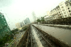 Monorail tracks of Kualalumpur. View from the front windscreen of a monorail Stock Image
