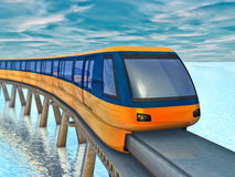 Monorail train. Futuristic monorail train on a background of sea and sky Royalty Free Stock Photo
