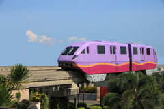 Monorail train. Short violet monorail train from funny land Royalty Free Stock Images