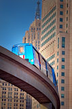 Monorail train in Detroit. With office buildings and clear sky in background Royalty Free Stock Image