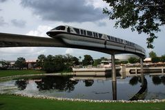 Monorail Train in Epcot. This is a monrail train in Epoct which connects different parks of disney world in Orlando.Epcot is one of the most interesting parks in Stock Photos