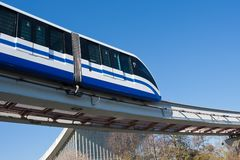 Monorail train. Modern monorail fast train on railway, Moscow, Russia Stock Images