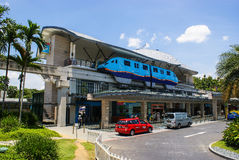 The monorail train Sentosa Express from Singapore Island to Se. Ntosa Island at Beach Monorail Station Stock Photo