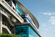 Monorail train at station Stock Image
