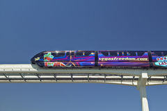 Monorail train with tourists in Las Vegas, NV Stock Photography