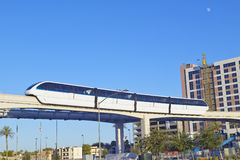 Monorail train with tourists in Las Vegas, NV Stock Photo