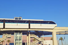 Monorail train with tourists in Las Vegas, NV Royalty Free Stock Photo