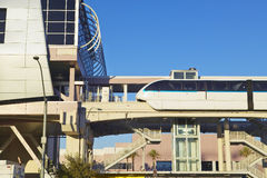 Monorail train with tourists in Las Vegas, NV Royalty Free Stock Photos