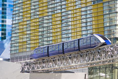Monorail Tram at CityCenter. A monorail train passes beside the multi-colored facade of the modern CityCenter complex in Las Vegas, Nevada stock photography