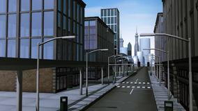 Monorail traveling through city. Animation of a monorail traveling through a virtual city stock footage