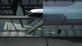 Monorail traveling through city high angle. Animation of a monorail traveling through a virtual city. The camera shoots the train from a high angle position stock video footage