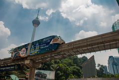 Monorail, the TV tower of the city Kuala Lumpur, Malaysia. Stock Photography