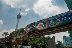 Monorail, the TV tower of the city Kuala Lumpur, Malaysia. Royalty Free Stock Photo