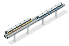 Monorailtrein Hemeltrein Vector isometrische illustratie van een Hemeltrein Voertuigen worden ontworpen om grote aantallen dat va Stock Foto