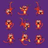Monos en diversas actitudes, ejemplos del vector Fotografía de archivo libre de regalías